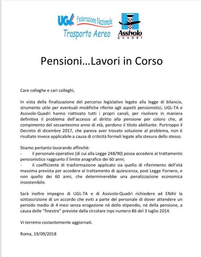 comunicato pensioni